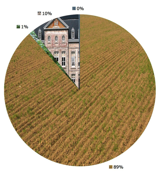 Faimes (Belgium): Land use in 2004: 89% agriculture, 1 % forest;  1 % construction, <1 % others