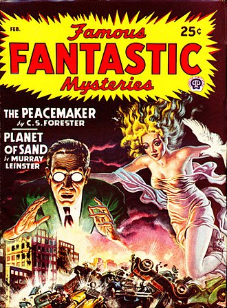 "Murray Leinster - Leinster's ""Planet of Sand"" was cover-featured on the February 1948 issue of Famous Fantastic Mysteries"