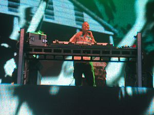 "Fatboy Slim - Cook performing at the first ""Beach Party"" in Portrush, 2006."
