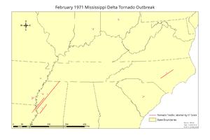 February 1971 Mississippi Delta tornado outbreak - Image: February 1971 tornado map