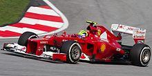 Massa prenant un virage au Grand Prix de Malaisie 2012.