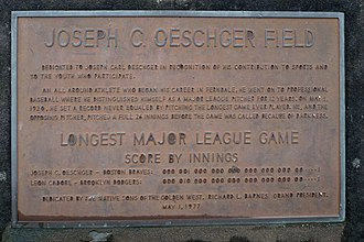 Joe Oeschger - A ballfield is named for him in Ferndale, California.  The plaque commemorates the longest game of baseball ever played.