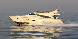 Ferretti Group - Ferretti model 68' (2005) cruising at 31 knots.