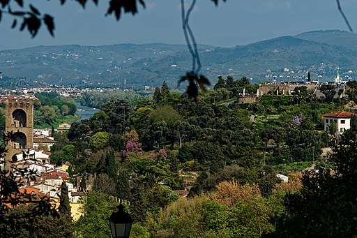 Giardino Bardini, View east inbetween Porta San Niccolo and Piazzale Michelangelo