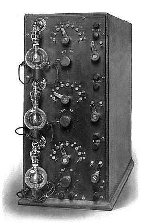 Amplifier - De Forest's prototype audio amplifier of 1914. The Audion (triode) vacuum tube had a voltage gain of about 5, providing a total gain of approximately 125 for this three-stage amplifier.