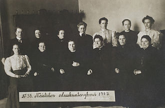 Timeline of women's suffrage - The first female MPs in the world were elected in Finland in 1907.
