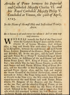 Peace of Vienna (1725) A series of peace conferences in 1725 re-establishing the Austro-Spanish alliance