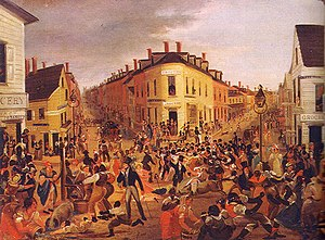 "Dead Rabbits - George Catlin painting of the Five Points, Manhattan, New York City in 1827 the slum territory of the ""Dead Rabbits"" and the other Irish criminal gangs"