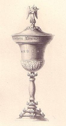 """Der """"Flemming"""", Pokal der Zelterschen Liedertafel, Entwurfszeichnung von Karl Friedrich Schinkel, ca. 1813 (Quelle: Wikimedia)"""