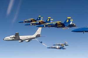 97th Air Refueling Squadron - 97th Air Refueling Squadron KC-135 refuels the Blue Angels