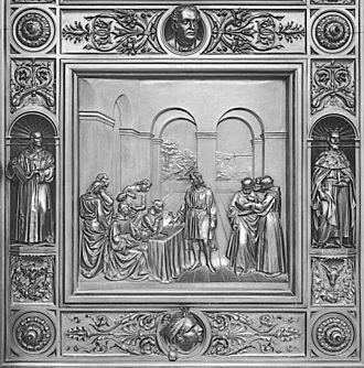 Myth of the flat Earth - Ornamental door (1871) at the US Capitol depicting the Council at Salamanca