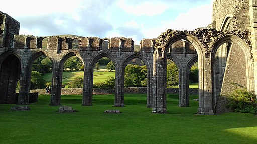 Foreground shot of former priory at Llanthony