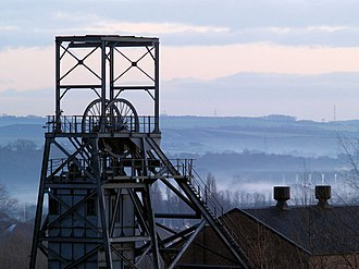 Barnsley - The winding tower of the former Barnsley Main Colliery (now closed) seen in 2006.