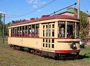 Connecticut Trolley Museum - Image: Former Montreal Tramways Company car 2600 at the Connecticut Trolley Museum, September 2007