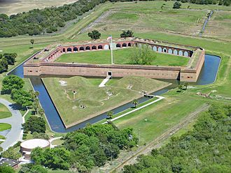 Fort Pulaski National Monument - Aerial view of the fort