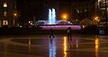 Fountain and People at Night on Plaça de Catalunya (33232414801).jpg