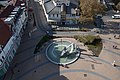 Fountain of the central square from the water tower of Siófok.jpg
