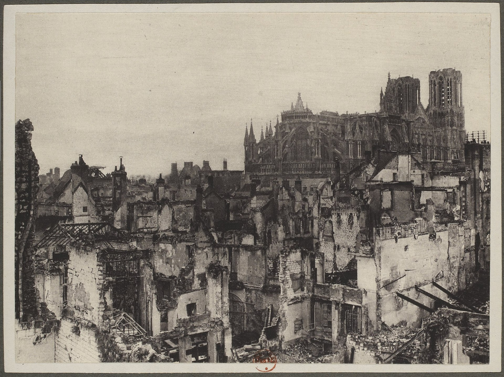 Reims in 1916 after being shelled by Germans