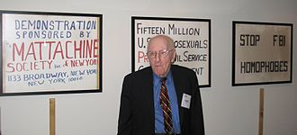 Frank Kameny - Kameny in front of signs used during protests. June 2009