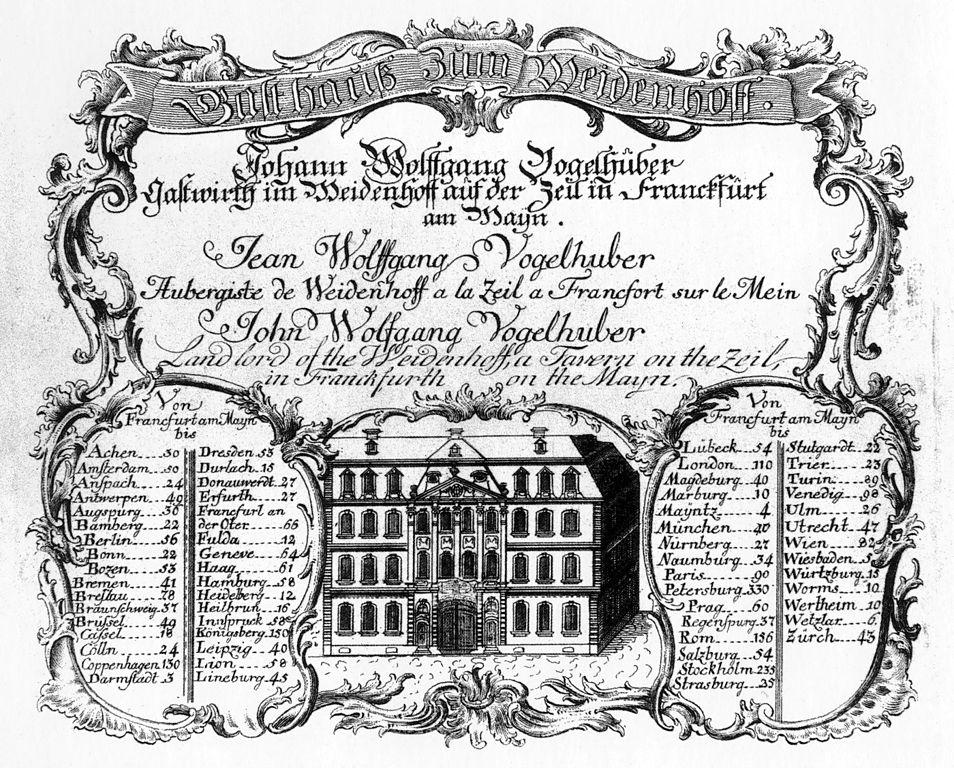 Len Frankfurt file frankfurt am zeil gasthaus zum weidenhof gastkarte um 1770
