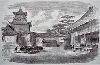 French military mission to Japan (1867–68) - French officers drilling Shogun troops in Osaka in 1867.