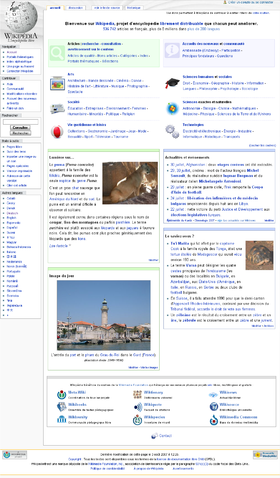 Main page of the French Wikipedia on 4 Agosti 2007