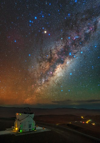 Very Large Telescope - Auxiliary Telescope, the Residencia and the heart of the Milky Way.