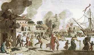 Haiti - Burning of the town of Cap-Français, 1793