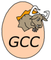 The GNU leaping out of the egg - a pun on GCC's EGCS history