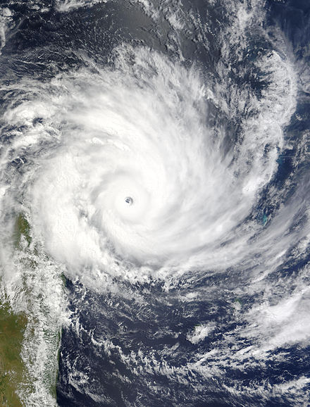 Satellite image of Cyclone Gafilo, the strongest storm on record in the basin by minimum central pressure Gafilo 2004-03-06 0655Z.jpg