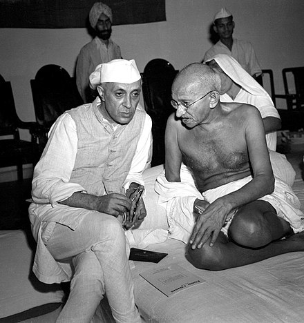 Mahatma Gandhi, the leader of Indian National Congress and Jawaharlal Nehru, the Prime Minister of India, studied law at the Inner Temple Gandhi and Nehru 1942.jpg