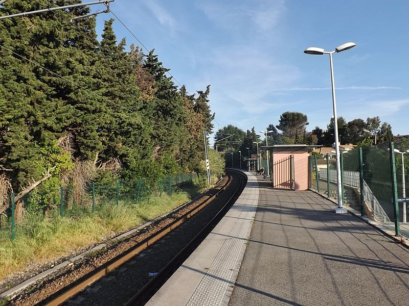 Sight of the single platform and track of the Cannes - La Frayère railway station, in Cannes, Alpes-Maritimes, France.