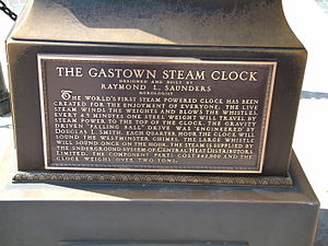 Steam clock - Front plaque on Vancouver Gastown steam clock
