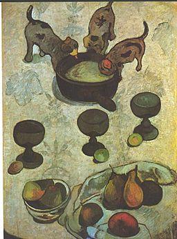 Gauguin - Stilleben mit drei Hündchen