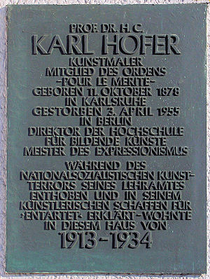 Karl Hofer - Memorial plaque at Grunewaldstraße 44 in Berlin-Schöneberg