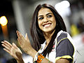 Genelia clapping moment at CCL, India, 2011.jpg