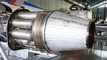 General Electric J47-GE-27 turbojet engine combustor section & exhaust nozzle left rear view at Hamamatsu Air Base Publication Center November 24, 2014.jpg