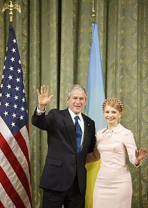 Yulia Tymoshenko - President George W. Bush and Prime Minister of Ukraine Yulia Tymoshenko, Kiev, 1 April 2008
