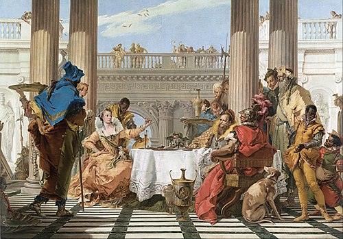The Banquet of Cleopatra (1744), by Giovanni Battista Tiepolo, now in the National Gallery of Victoria, Melbourne Giambattista Tiepolo - The Banquet of Cleopatra - Google Art Project.jpg
