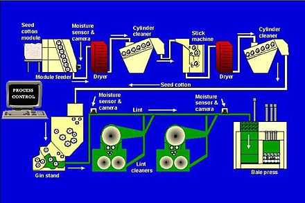 Diagram of a modern cotton gin plant, displaying numerous stages of production Ginplant.jpg