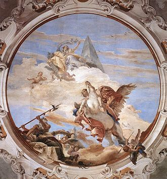 Gerolamo Mengozzi Colonna - Mengozzi's contribution to the fresco of Bellerophon is the Trompe-l'œil architecture around scenes, doorways and framing this oval