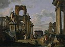 Giovanni Paolo Panini - An Architectural Capriccio of the Roman Forum with Philosophers and Soldiers among Ancient Ruins, in... - Google Art Project.jpg