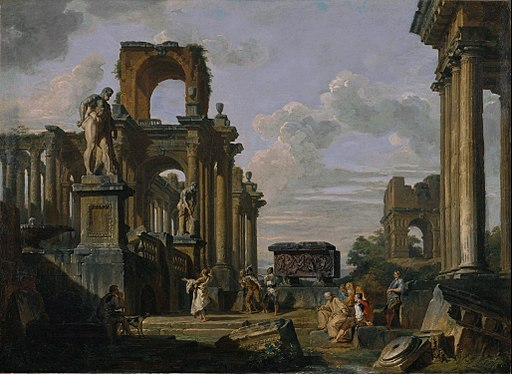 Giovanni Paolo Panini - An Architectural Capriccio of the Roman Forum with Philosophers and Soldiers among Ancient Ruins, in... - Google Art Project
