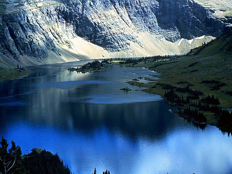 A mountain lake in Glacier National Park, Montana.