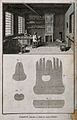 Glove makers; interior view with various tools of the trade. Wellcome V0023714.jpg
