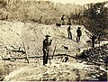 Gold miners operating sluice on claim No 39 below Hunker Creek, Yukon Territory, ca 1898 (MEED 64).jpg