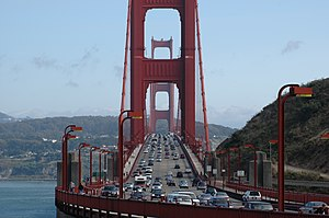 San Francisco congestion pricing - Traffic leaving and entering San Francisco over the Golden Gate Bridge.