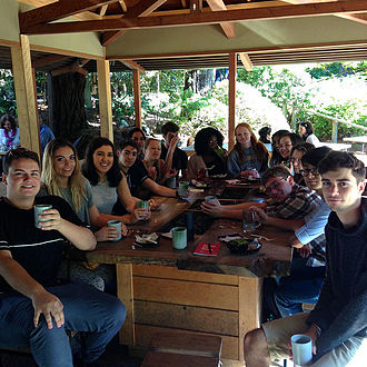 Japanese Tea Garden (San Francisco) - University of San Francisco students enjoy tea and snacks at the Tea House