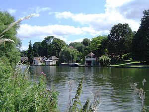 Goring Lock - Boat houses along the Cleeve side