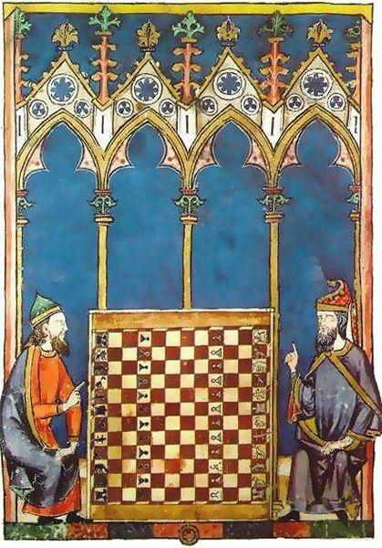 Hispanojudíos jugando al ajedrez. Libro de los juegos (1251-83), encargado por Alfonso X.